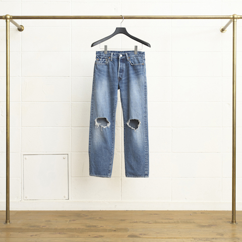 13OZ DENIM FIVE POCKETS TOW HOLE KNEES PANT