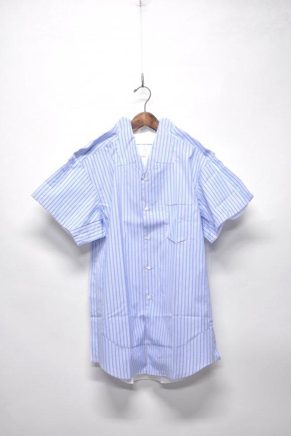 cotton poplin plain × yarn dyed cotton stripe