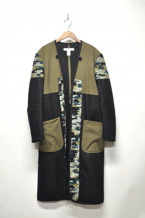wool broadcloth plain / polyester camo print / cotton twill