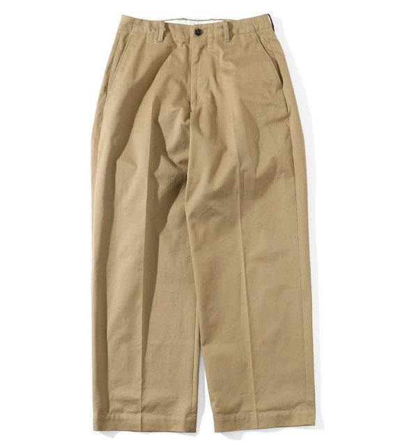 NO TUCK WIDE CHINO TROUSERS