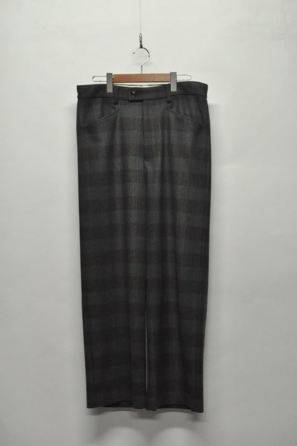 WOOL CHECK WIDE PANT