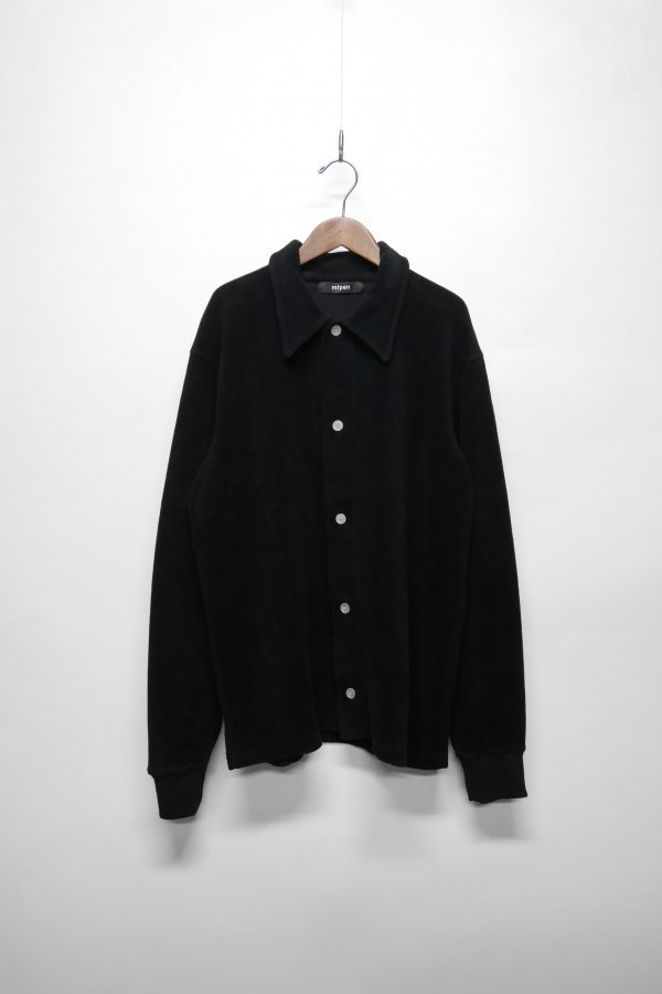 VELOUR FEEL JERSEY SHIRT WITH WHITE BUTTONS AND RIB IN CUFF