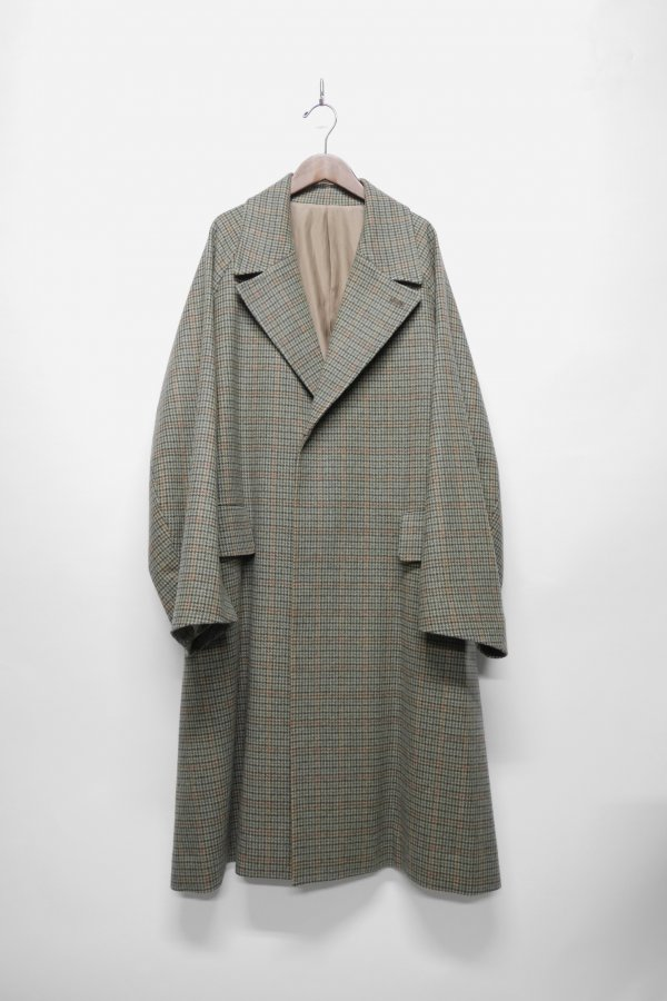 WOOL CHECK BELTED COAT